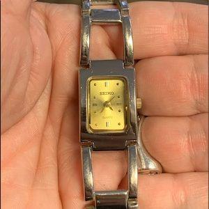 Seiko Gold face rectangular ladies watch quartz